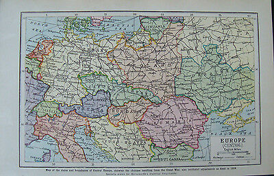 Old Map/print Europe Central c1920