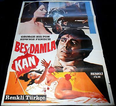 1972 The Case of the Bloody Iris ORIGINAL TURKISH POSTER Giallo Edwige Fenech