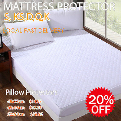 100% Cotton Cover Quilted Fitted Mattress/Pillow Protector Aus Size Bed