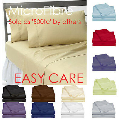 1000tc microfiber flat fitted sheet set single double queen king super size f aud. Black Bedroom Furniture Sets. Home Design Ideas