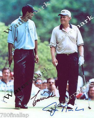 Tiger Woods & Jack Nicklaus At Pga Masters Golf Tour 8 X10 Signed Photo (Rp)