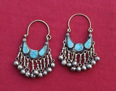 Pair Of Afghan Kuchi Turquoise Inlayed Earrings Vintage Antique Tribal Handmade