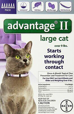 Bayer Advantage II for Large Cats over 9 lbs - 6 Pack - EPA Approved!!