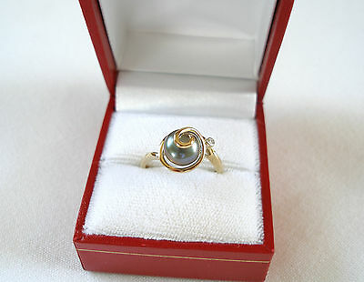 8 mm Black Pearl Solitaire & Diamond  10k Gold Ring