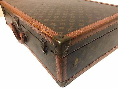 Antique Louis Vuitton Leather Hard Case Trunk Suitcase Chest