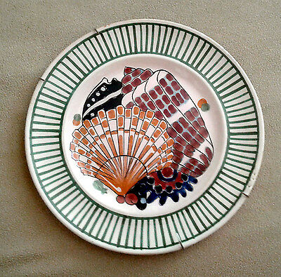 Vintage seashell décor plate, signed, likely 1930s Henriot, Quimper, France