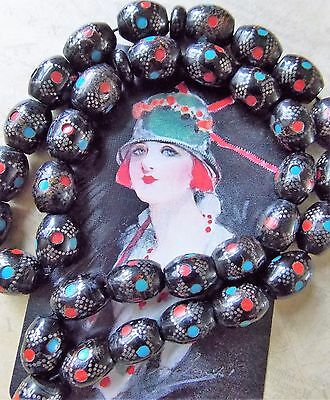 Vintage 1980s Yemeni Hand Crafted Inlaid Black Coral & Silver Prayer/Worry Beads