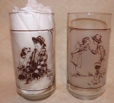 Norman Rockwell & Pepsi Limited Edition Glass Tumblers set of 2