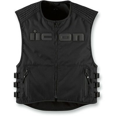 Icon Mens Black Brigand Motorcycle Riding Vest - Choose Size
