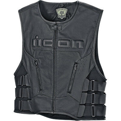 Icon Mens Black Regulator D30 Motorcycle Riding Vest - Choose Size