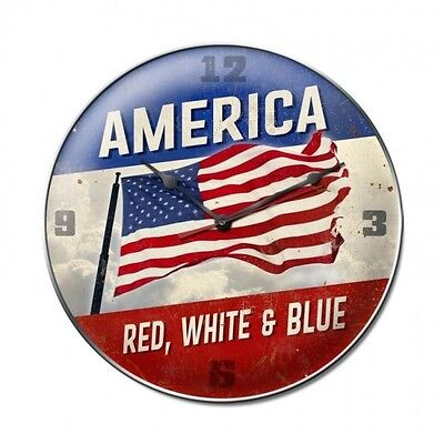 America Red White & Blue Wall Clock - Hand Made in the USA with American Steel