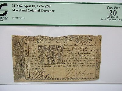Colonial Currency Maryland 1774 $2/9, PCGS Very Fine 20 apparent