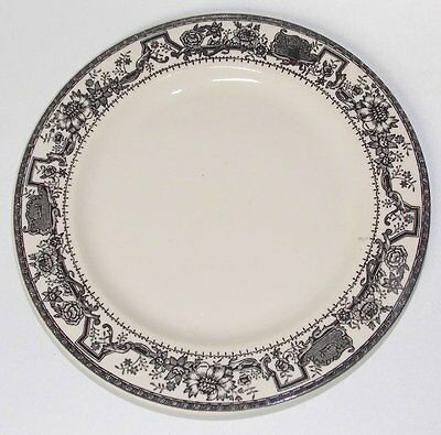 Vtg Walker China restaurant ware Dinner plate transfer ware black design rim