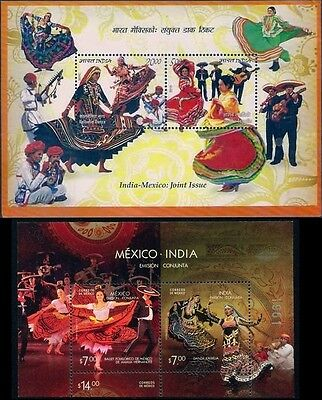 INDIA Mexico Joint Issue Dance Art Music Souvenir Sheet Set MNH NEW