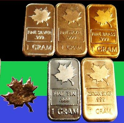 8 Different 1 Gram Bullion Bars - Maple Leaf Design - COLUMBIUM SILVER TITANIUM