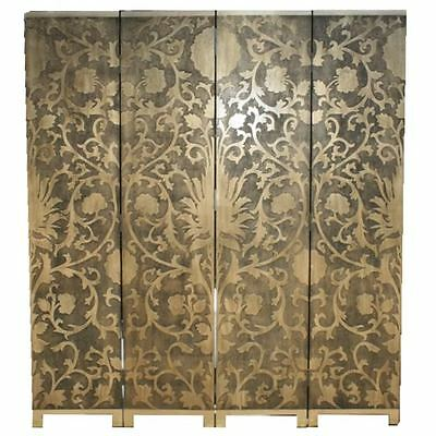 New French Coromandel Gold Sun Flowers Room Divider Screen (SN4-GDSF2)