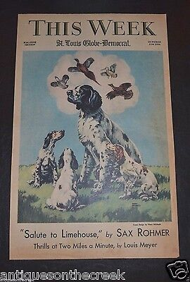 1936 Vintage Print ENGLISH SETTER Hunting Dogs DREAMING by Harry Michaels