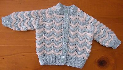 Baby Jacket: Hand Knitted - Pale Blue/white - 3 Months