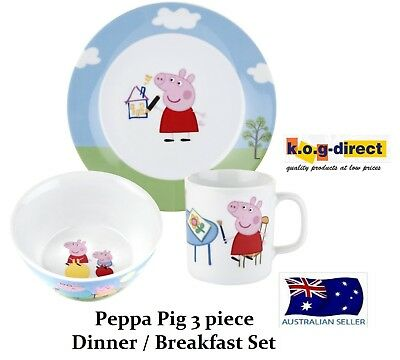 Peppa Pig Child's 3 Piece Ceramic Dinner Breakfast Set Plate Bowl Mug