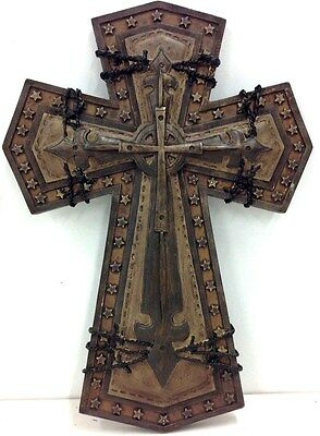 """Hanging Cross Wall Decor. Two-Tone Brown. 9 3/4"""" T. Resin"""