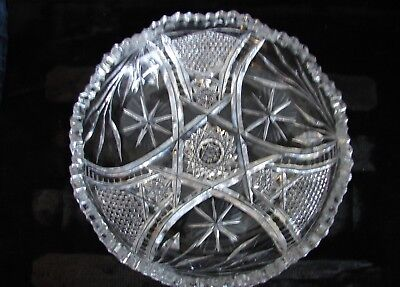 Old Vintage American Cut Crystal Glass Low Bowl Star Flower & Diamond Point