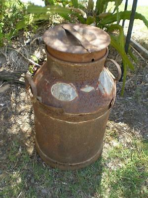 VINTAGE metal ROYSTON milk can+ lid early Oz farm equipment garden man cave art