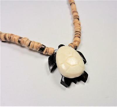 Beach Fashion Hawaiian Koa Wood And Bone Sea Turtle Coco Beads Pendant Necklace
