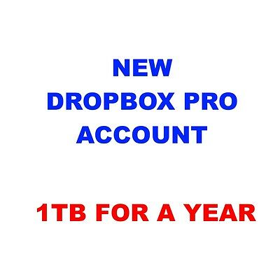 New Dropbox Pro Account 1TB space storage for 1 Year - Change email and Password