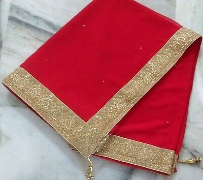 Bollywood Saree Party Wear Indian Ethnic Pakistani Designer Sari Red Golden