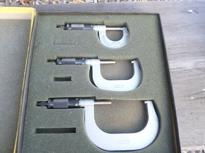 """Sears 3 Piece Apprentice Outside Micrometer Set Machinist Tool 0-1"""" 1""""-2"""" 2""""-3"""""""