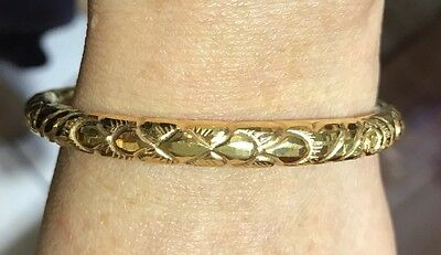 18k Solid Yellow Gold Old Cut Bangle 10.45Grams 60mm(529$)