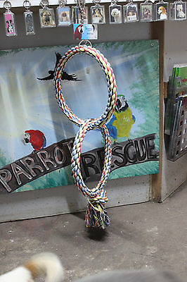 Parrot Rope Twin Hoop toy is suitable for Medium Parrots. African Greys, Amazons