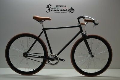 Fixed  bike single speed bici single speed bici scatto fisso 1v  nera e marrone