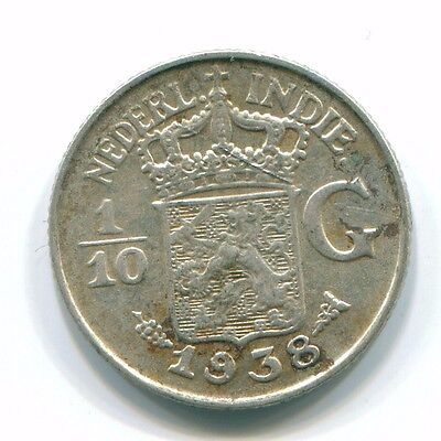 1938 Netherlands East Indies 1/10 Gulden Silver Colonial Coin Nl13506#3