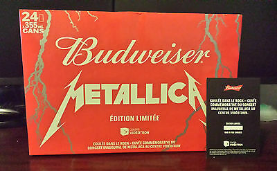 VERY RARE Metallica Quebec Bud Budweiser Box Case with 24 EMPTY Beer Cans