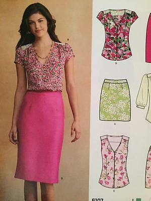 New Look Sewing Pattern 6107 Ladies Misses Blouse and Skirt Size 8-18