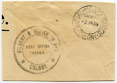 GILBERT + ELLICE ISLANDS 1939 OFFICIAL PAID HANDSTAMP TARAWA on PIECE