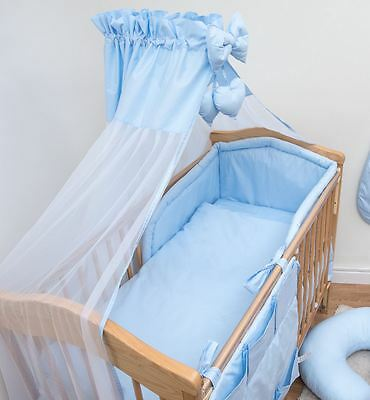 7 Pc Baby Bedding Set with Bumper and Drape fits 140x70cm Cot Bed - Plain Blue