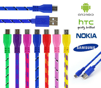 Braided Micro USB Charger Data Cable Lead for SAMSUNG S6 S7 EDGE SONY HUAWEI