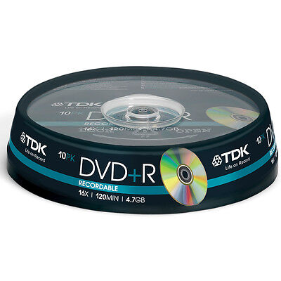 TDK Blank DVD, 10 Disks Spindel, DVD+R Recordable, 16x Speed, 4.7GB Single Sided