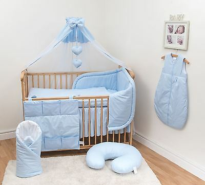 12 Pc Baby Bedding Set with Padded Bumper (Fits 140x70 cm Cot Bed) - Plain Blue