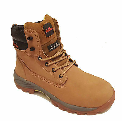 Brand New Mens Tan Steel Toe Cap Boots Work Safety shoes