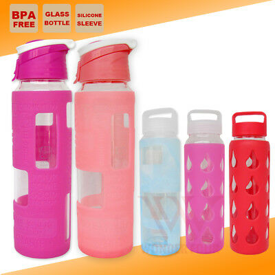 700ml Glass BPA Free Water Hydration Bottle Assorted Colours Outdoor Gmy Kettle