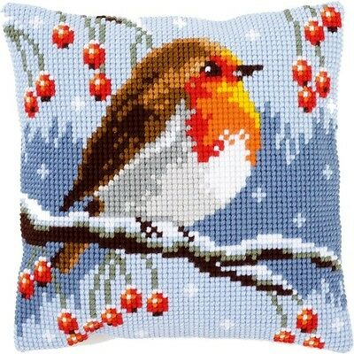 """Vervaco RED ROBIN IN WINTER Chunky Cross Stitch Cushion Front Kit 16"""" x 16"""""""