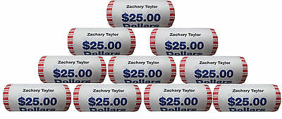 (Lot of 10) 2009 P Zachary Taylor Presidential Bank Wrapped Dollar 25 Coin ROLLs