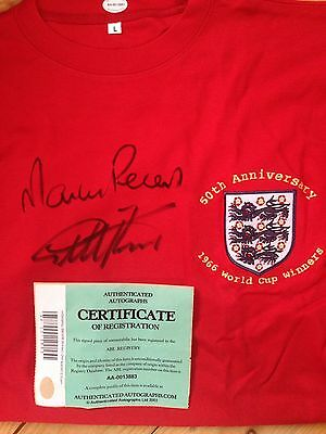 England 1966 World Cup Signed Shirt Geoff Hurst Martin Peters With Coa