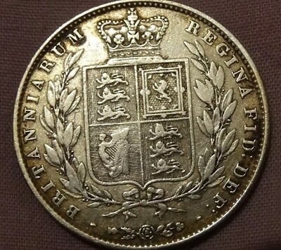 Queen Victoria 1846 .925 Silver Half Crown, Over 170 Years Old Lovely Grade Coin