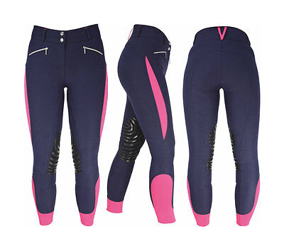 HyPERFORMANCE Sports Active Ladies Breeches | Navy/Pink | 28""