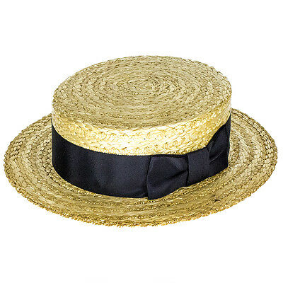 Olney Headwear Classic Straw Boater with Black Band