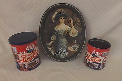 Vintage Pepsi Serving Tray Fabcraft USA & Collectible Popcorn Olive Cans